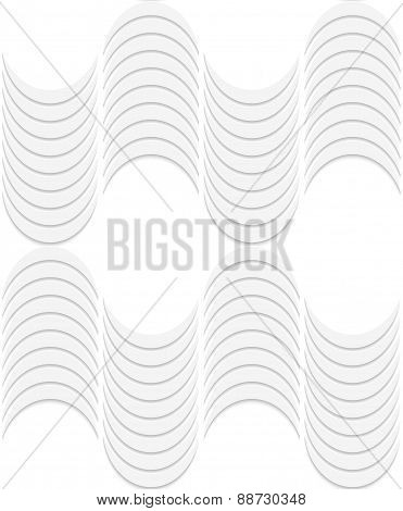 3D White Striped Waves
