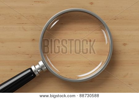 Magnifying glass on top of a wooden table (3D Rendering)