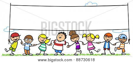Many happy children in nature holding empty white background banner
