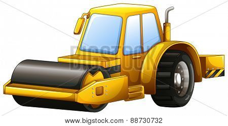 Close up yellow steam roller