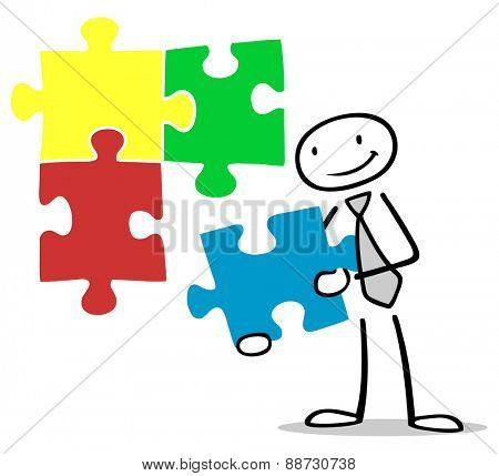 Business man holding a colorful jigsaw puzzle piece