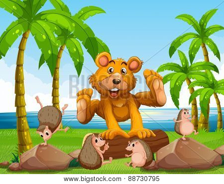 Bear and hedgehog on the shore