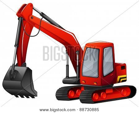 Close up red excavator with metal shovel
