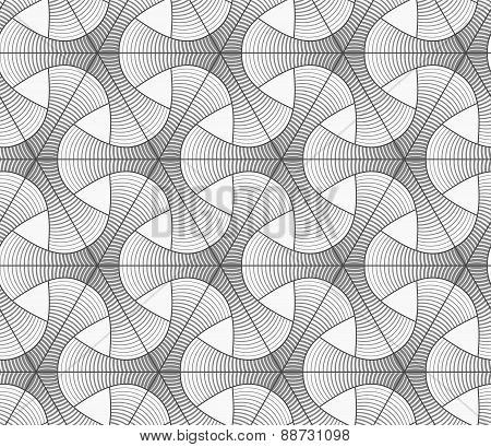 Monochrome Gradually Striped Tetrapods And Grid