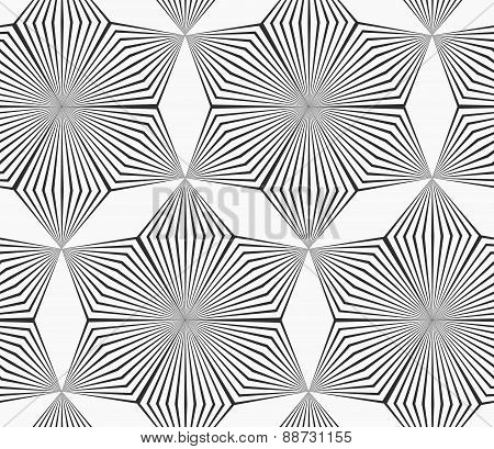 Monochrome Gray Striped Six Pedal Rhombus Flowers