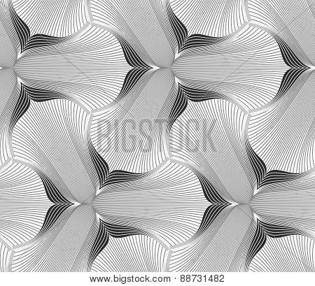 Slim Gray Hatched Trefoil Flower