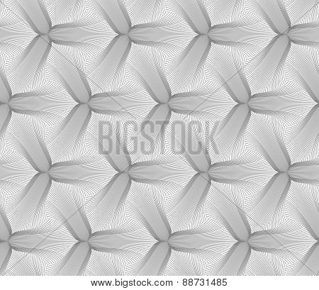 Slim Gray Hatched Trefoil Pointy Flower