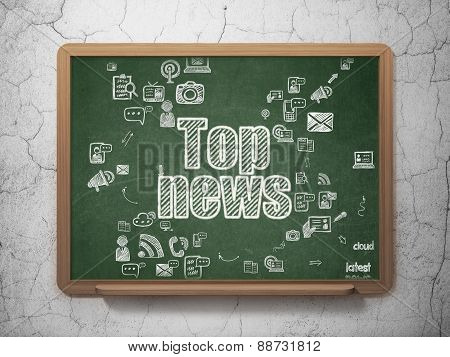 News concept: Top News on School Board background