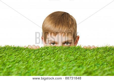 Boy peeping out through grass close up