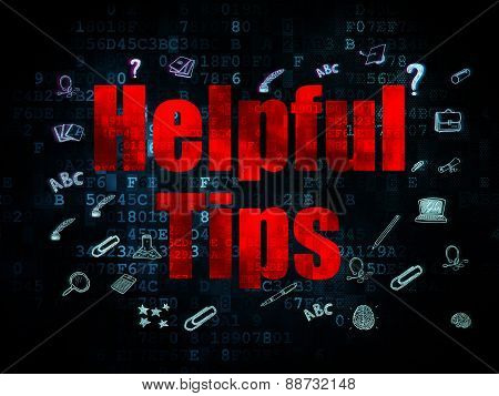 Education concept: Helpful Tips on Digital background