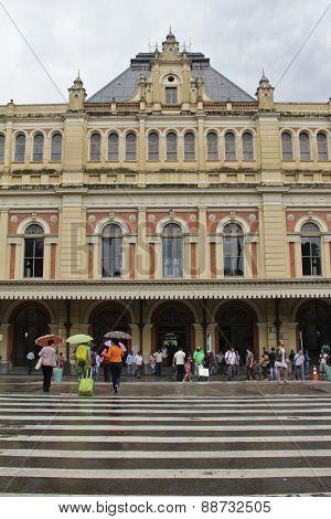 Facade Of Luz Train Station In Sao Paulo