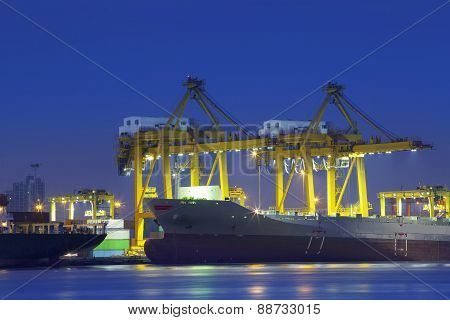 Beautiful Lighting Of Container Ship In Port  Use For Import,export And Freight Logistic Business In
