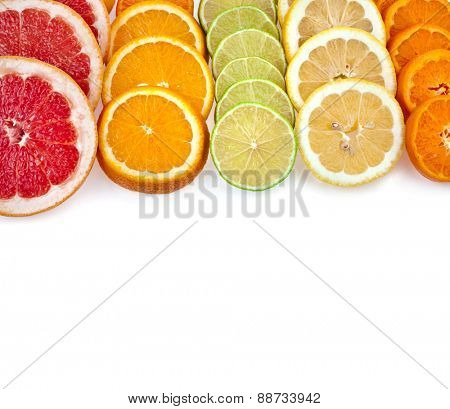 slices citrus mixed  top view border surface  isolated on white background