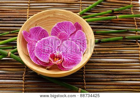 Wooden bowl of orchid  with grove on bamboo mat