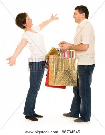 couple man and woman with shopping bag