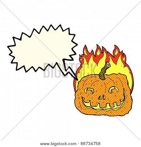 cartoon burning pumpkin with speech bubble