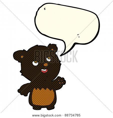 cartoon happy little teddy black bear with speech bubble