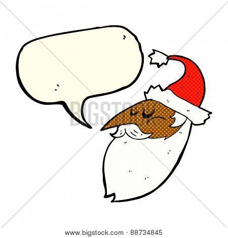 cartoon santa face with speech bubble