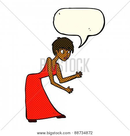 cartoon woman in dress gesturing with speech bubble