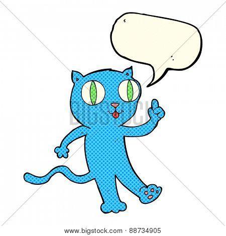 cartoon  cat with idea with speech bubble