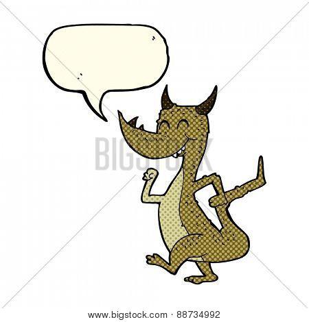 cartoon happy dragon with speech bubble