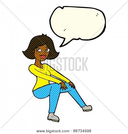 cartoon happy woman sitting with speech bubble