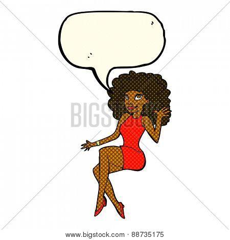 cartoon sitting woman waving with speech bubble
