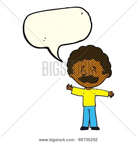 cartoon boy with mustache with speech bubble