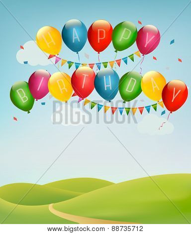 Retro Holiday Background With Colorful Balloons And Landscape. Vector