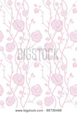 Beautiful roses seamless pattern. Pink pastel color. Simple natural background