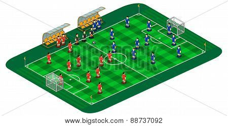 Vector Soccer Or Football Field Illustration With Abstract Team Players Figures And Referee With Two
