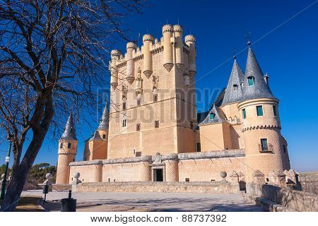 Sunny Image Of Segovia's Alcazar In Spain
