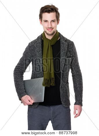 Caucasian man with laptop computer