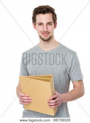 Student holds folder