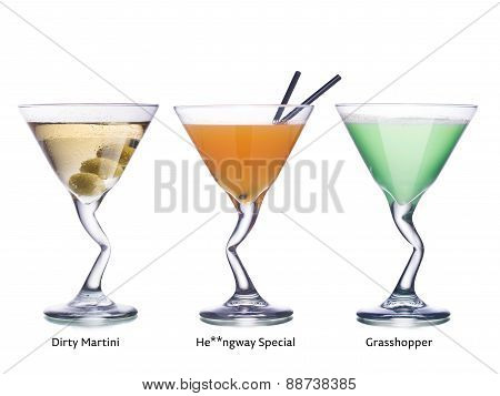 Cocktails In Martini Glasses