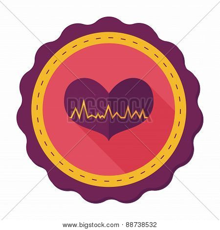 Ecg Heart Flat Icon With Long Shadow