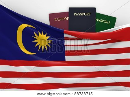 Travel and tourism in Malaysia, with assorted passports