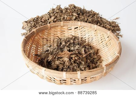 Aromatic Leaves In A Basket On White Background
