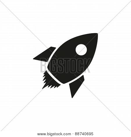 The Rocket Icon. Launch And Speed Symbol. Flat