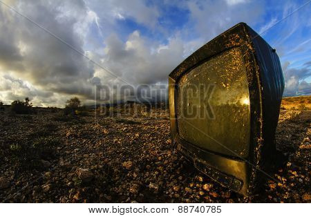 Abandoned Broken Television