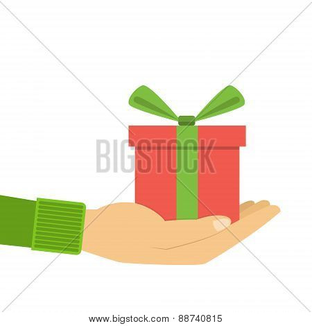 Icons Gift Box In The Palm, A Gift In Hand