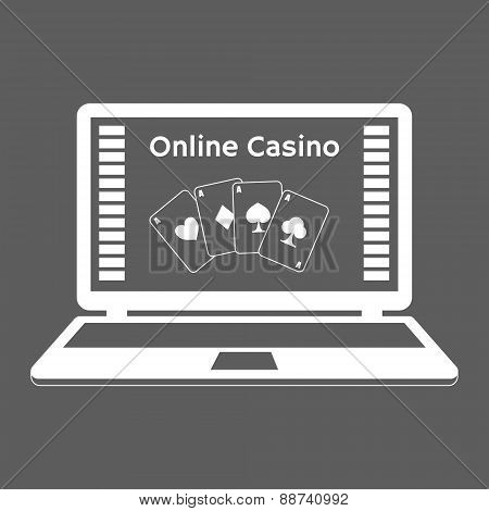 Icons. Online Casino. Playing Cards On A Laptop Monitor. Flat Design.