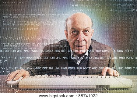 Elderly hacker nerd