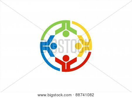 team work logo,circle education team,people club symbol health nature group icon