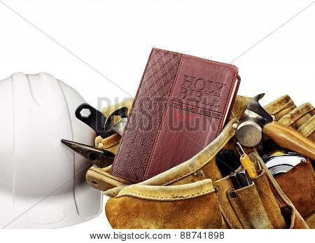 Bible And Carpenters Tool Belt With White Helmet