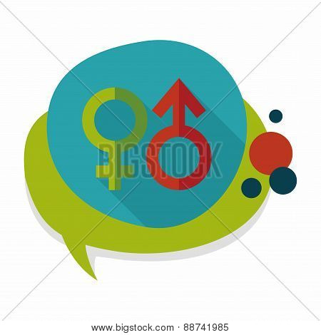 Gender Symbol Flat Icon With Long Shadow