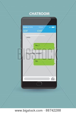 Mobile Phone Chatroom Application Vector Illustration