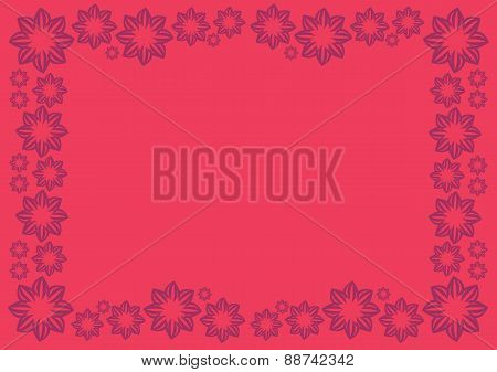 Bright Red Vector Background With Floral Border