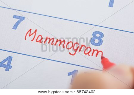 Hand With Mammogram Written On Calendar