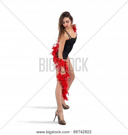 Woman posing with her boa